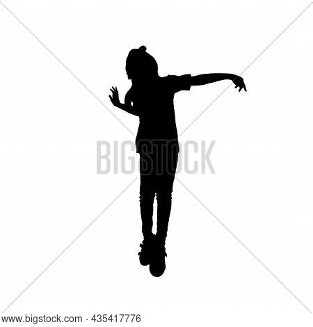 Silhouette Of A Girl. Black On White. Dancing Pose And Pointing The Finger. Square Format