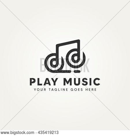 Music Note Minimalist Line Art Icon Logo Design Vector