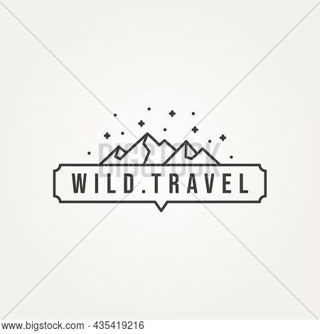 Mountain Travel Wildlife Adventure Night View Minimalist Line Art Logo Design Vector