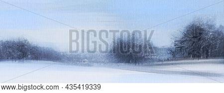 Winter Landscape. Rural Scene.  Oil Painting.  Hand-drawn Illustration.