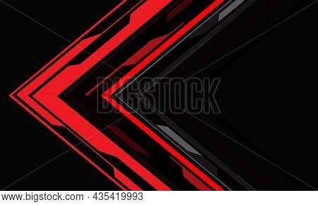 Abstract Red Cyber Arrow Direction Geometric On Grey With Blank Space Design Modern Technology Futur