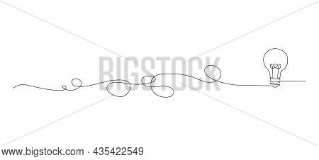 Continuous Single Line Drawing Of Light Bulb With Tangled Cord, Line Art Vector Illustration