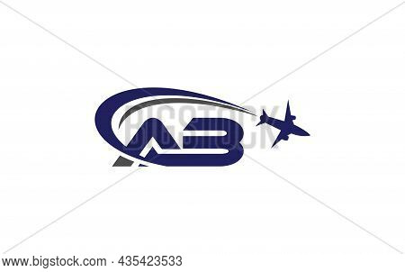 Simple And Modern Airplane Logo Design For Airlines, Airline Tickets, Travel Agencies With Ab Letter