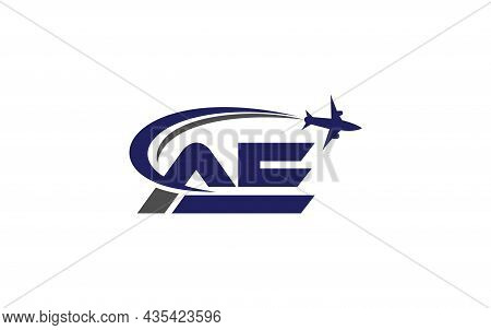 Simple And Modern Airplane Logo Design For Airlines, Airline Tickets, Travel Agencies With Ae Letter