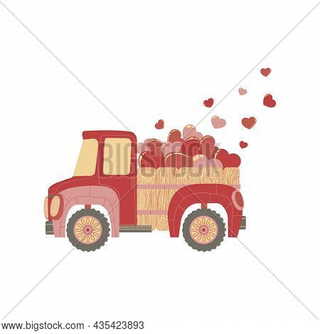 Vector Hand Drawn Illustration Of Cute Car With Pink And Red Hearts For Valentine's Day. Colorful Tr