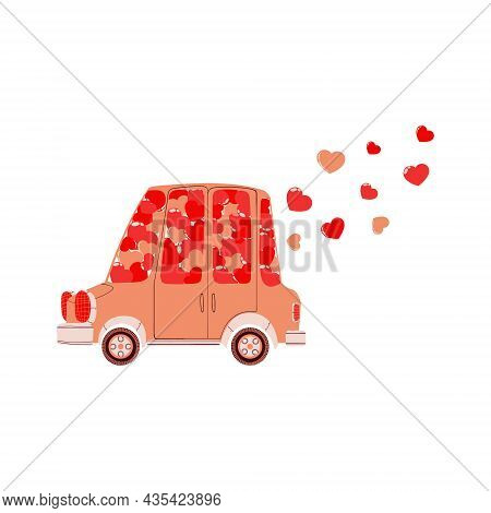 Vector Hand Drawn Illustration Of Cute Car With Pink And Red Hearts For Valentine's Day. Colorful Au