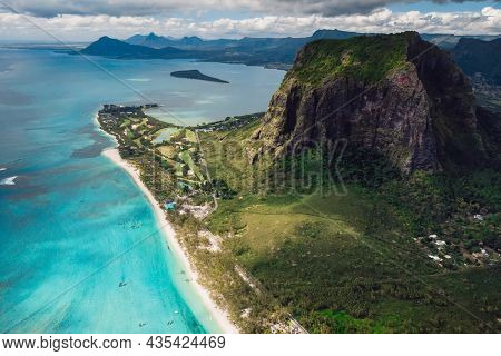Panoramic View With Le Morne Mountain, Ocean And Beach In Mauritius. Aerial View