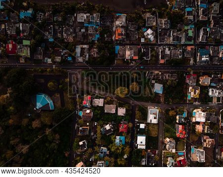 La Gaulette Village After Sunset In Mauritius Island. Aerial View