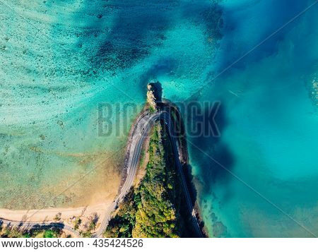 Maconde Point With Road And Ocean. Aerial View In Mauritius Island
