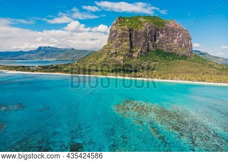 Tropical Island With Le Morne Mountain, Turquoise Ocean And Beach In Mauritius. Aerial View