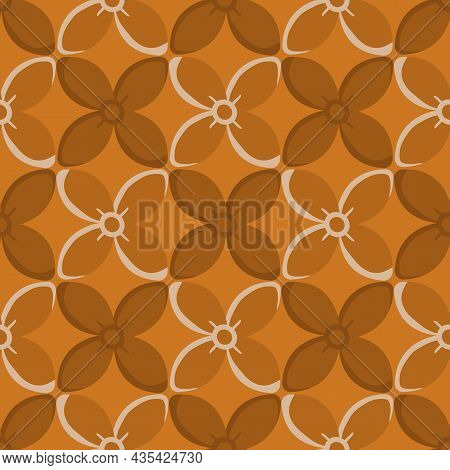 Simple Medieval Style Stylized Flowers Vector Pattern Background. Hand Drawn Ochre Floral Motifs On