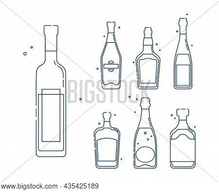 Bottle Vodka Martini Whiskey Wine Liquor Champagne Rum Line Art In Flat Style. Restaurant Alcoholic