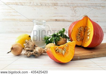 Ingredients For A Warming Autumn Soup Recipe With Red Kuri Squash, Coconut Milk And Ginger For Thank