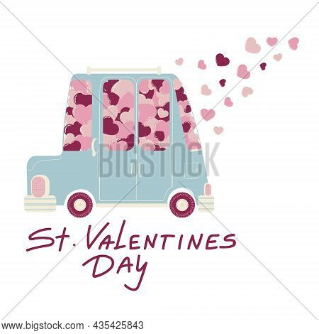 Vector Hand Drawn Illustration Of Cute Car With Pink And Red Hearts And Slogan Valentine's Day. Colo