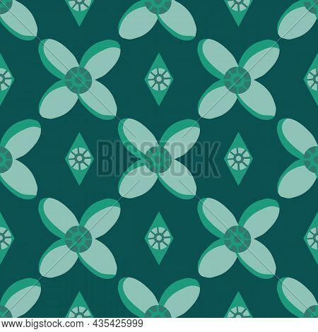 Medieval Style Stylized Flowers And Diamonds Vector Pattern Background. Hand Drawn Floral Motifs And