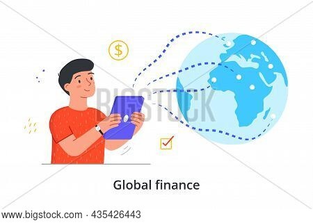Economic Management Concept. Man Hold Smartphone In Hands And Monitors Financial Situation Around Wo