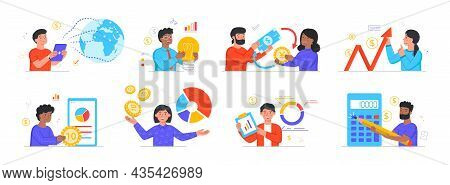 Global Economy Concept. Currency Exchange, Financial Analysis, Investment And Accounting. Characters