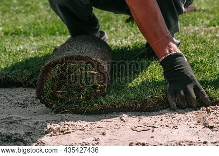 Professional Stacking Of Fresh Rolled Grass. Gardener's Hands In Gardening Gloves Laying Turf Making