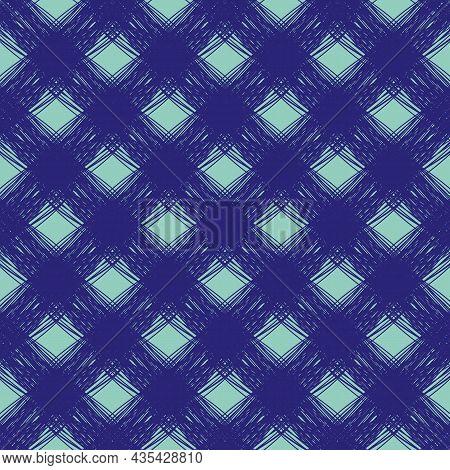 Diagonal Scrim Linen Weave Texture Vector Pattern. Seamless Inky Blue Woven Yarn Effect Backdrop Wit