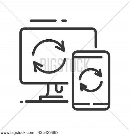 Data Sync - Vector Line Design Single Isolated Icon