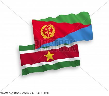 National Fabric Wave Flags Of Eritrea And Republic Of Suriname Isolated On White Background. 1 To 2