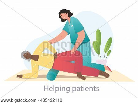Physiotherapist Helping Grandmother. Old Woman Oing Yoga, Workout, Remedial Gymnastics. Physiotherap