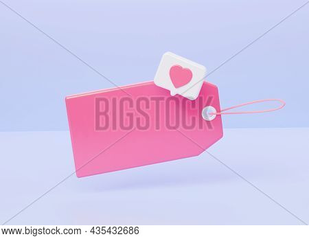 Blank Price Tag With Icon Notification Like Heart. 3d Rendering Illustration