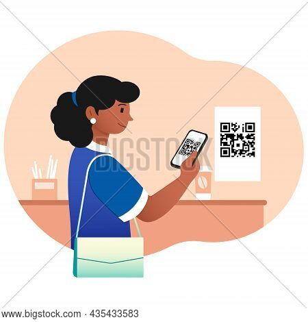 Girl Scans Qr Code In Store. Woman Checks Price, Buying Coffee In Restaurant. Cashless Payment, Mode