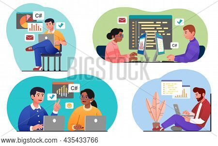 Programmers Working Set. Collection Of Images On Which People Develop Programs. Modern Technologies,