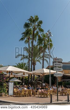 Portals Nous, Spain; October 03 2021: General View Of The Terrace With Customers Of The Cappuccino C