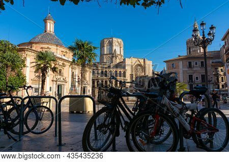 Valencia, Spain. July 7, 2021 - Square With The Basilica Of The Virgin, The Cathedral With The Octag