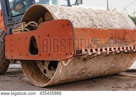 Heavy-duty Vibratory Roller For Asphalt Paving Close-up. Road Construction. Construction Of Roads An