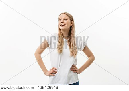 Caucasian Young Confident Woman. Model White T-shirt Isolated On White Background.