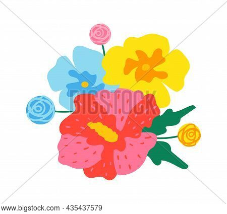 Colourful Flowers Blooming, Exotic Flora Flat Design. Vector Floral, Spring Blossom, Nature Summer P