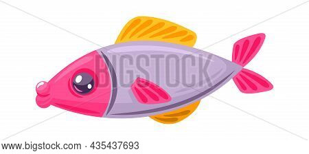Colored Little Fish Isolated On White Background. Vector Fish Animal, Aquatic Funny Underwater Pet I
