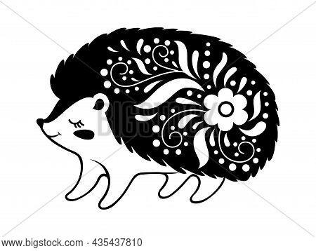 Monochrome Hedgehog, Animal Symbol Mysterious On White. Illustration Of Hedgehog Monochrome Animal,