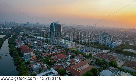 Aerial View Of The Maritime Tower Is An Iconic Building In North Jakarta When Sunset. Jakarta, Indon