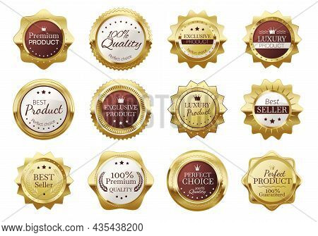Golden Badges, Premium Quality Emblems, Luxury Seal Labels. Realistic Gold Medal Badge, Vintage Eleg