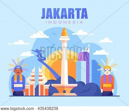 Vibrant City Of Jakarta. Indians, Culture, Abstract Images. Old Cultures, Ancient Countries And Citi