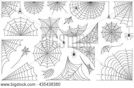 Halloween Spider Web, Black Cobweb Frames, Borders And Corners. Scary Spiderweb With Spiders, Decora
