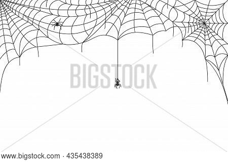 Halloween Spider Web Border, Spooky Cobwebs With Hanging Spiders. Scary Webs Frame Decoration, Spide