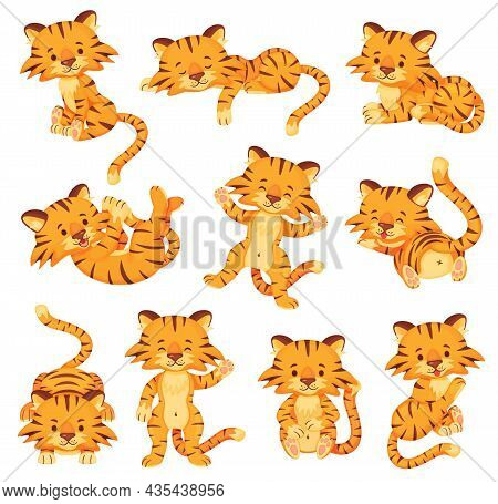 Cartoon Cute Tigers, Happy Little Tiger Cubs. Adorable Baby Tiger Sleeping Or Playing, Wild Cats Ani