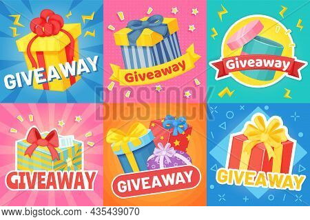 Giveaway Poster With Gift Boxes, Social Media Promo Banner. Cartoon Presents With Ribbons, Giveaways