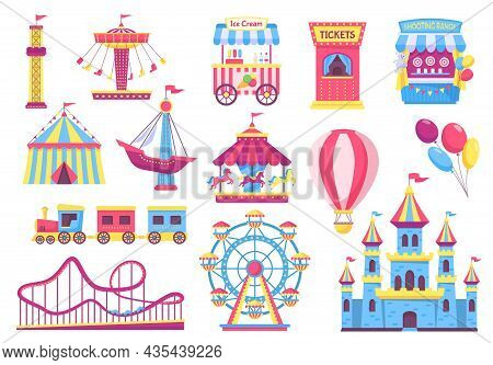 Amusement Park Attractions, Fairground Rides, Carnival Elements. Cartoon Circus Tent, Carousel, Roll