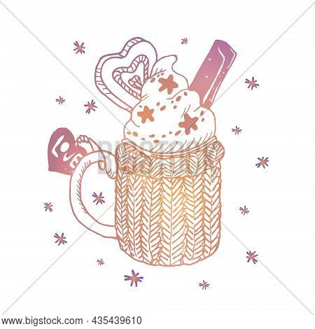 Vector Abstract Isolated Illustration With A Cup Of Warm Coffee With Whipped Cream. Concept Winter,