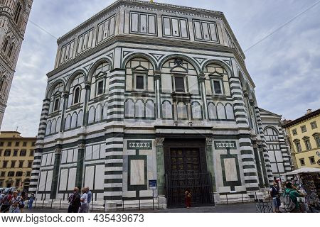 Florence (italy), September 3, 2021. Baptistery Of The Florence Cathedral. It Is One Of The Most Imp