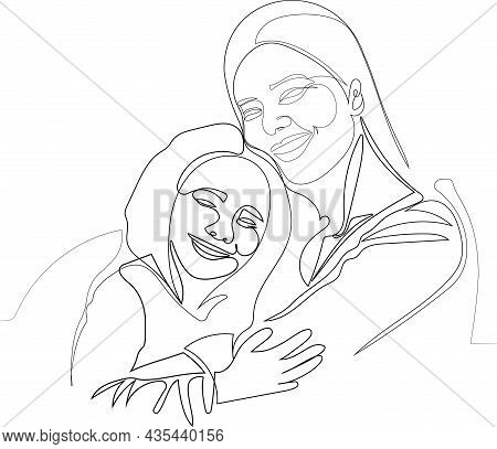 Happy Mom And Little Girl Child Embrace Show Love And Care In Relations. Smiling Young Mother And Sm
