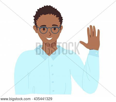 African-american Young Guy With Glasses Waves His Hand, Showing Friendliness. Illustration Of Africa