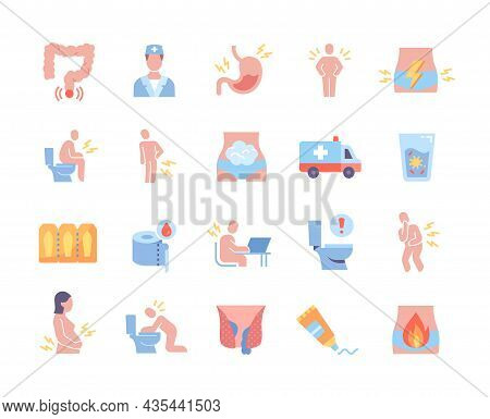 Colorful Collection Of Medical Icons. Various Stickers With Vomiting, Abdominal Pain, Medications Fo