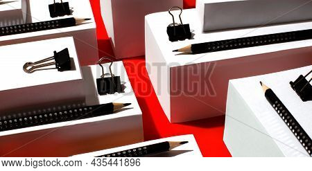 Abstract Geometric Shapes. Three-dimensional Cubes And Rectangular Objects On A Red Background With